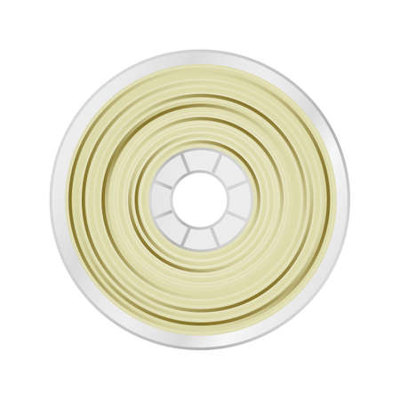 Vector illustration of natural white and yellow filament for 3D printing wounded on the spool. Plastic material pla, abs, petg, pc, asa, or pa for a 3D printer. Icon is isolated on a white background.