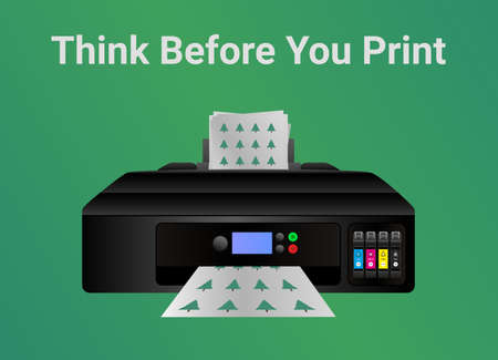 Green eco printing ecology concept. Think before you print. Home inkjet printer isolated on green. Please consider the environment before printing email or other uselessness. Save paper, save trees.