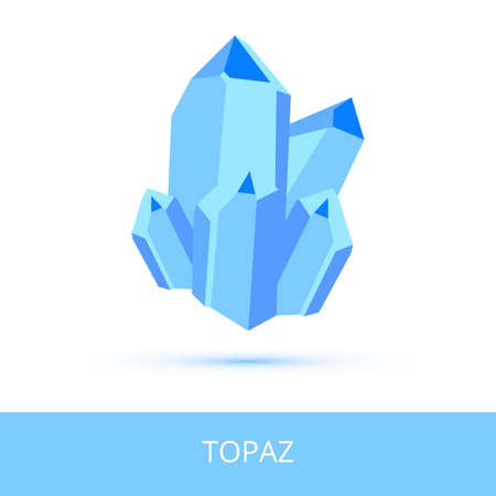 Vector mineralogy icon of a silicate mineral topaz from the mohs scale of mineral hardness. Blue crystalline stone or gemstone crystal isolated on a white background. Vektoros illusztráció