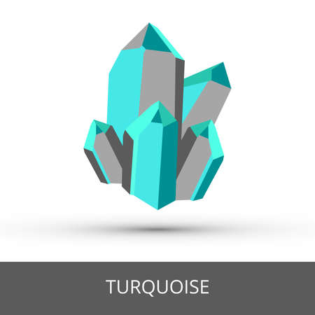 Vector mineralogy icon of gray blue green opaque mineral turquoise - hydrated phosphate of copper and aluminum. Turquoise glittering crystalline stone or gemstone crystal isolated on white.