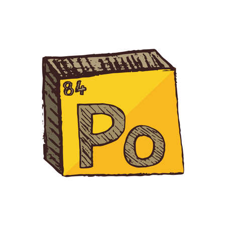 Vector three-dimensional hand drawn chemical gray-yellow symbol of radioactive metal polonium with an abbreviation Po from the periodic table of the elements isolated on a white background.