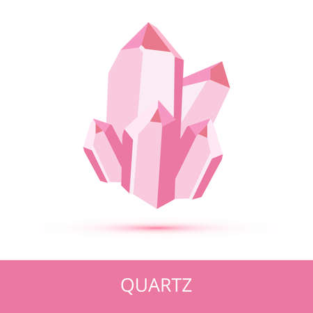 Vector mineralogy icon of mineral quartz SiO2 composed of silicon and oxygen from the mohs scale of mineral hardness. Dark pink or red crystalline stone or gemstone crystal isolated on white. Vektoros illusztráció