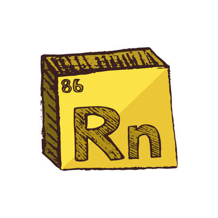 Vector three-dimensional hand drawn chemical yellow radioactive symbol of noble gas radon with an abbreviation Rn from the periodic table of the elements isolated on a white background.