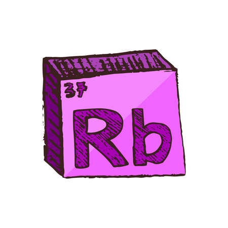 Vector three-dimensional hand drawn chemical violet or purple symbol of rubidium with an abbreviation Rb from the periodic table of the elements isolated on a white background.
