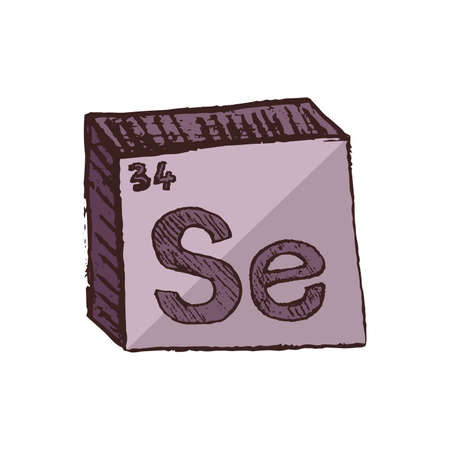 Vector three-dimensional hand drawn chemical gray red symbol of selenium with an abbreviation Se from the periodic table of the elements isolated on a white background.