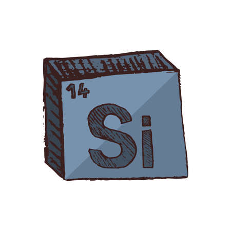 Vector three-dimensional hand drawn chemical symbol of silicon with an abbreviation Si from the periodic table of the elements isolated on a white background.
