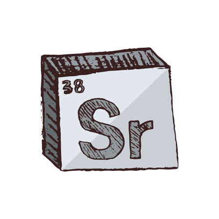 Vector three-dimensional hand drawn chemical gray silver symbol of strontium with an abbreviation Sr from the periodic table of the elements isolated on a white background.