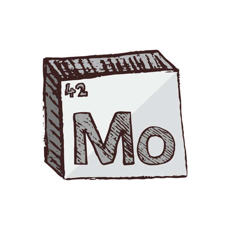 Vector three-dimensional hand drawn chemical silver symbol of metal molybdenum with an abbreviation Mo from the periodic table of the elements isolated on a white background.