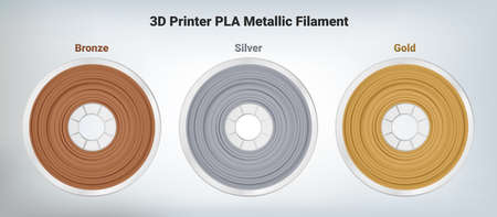 Vector set of illustrations of special glittering composite pla or abs copper bronze, silver and gold filament for 3D printing wounded on the spool. Plastic silver special material for a 3D printer.