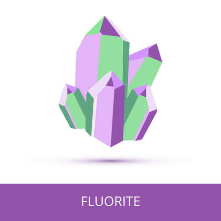 Vector mineralogy icon of calcium fluoride mineral - fluorite CaF2 from the mohs scale of mineral hardness. Violet or purple green crystalline stone or gemstone crystal isolated on a white background.