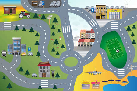 Vector cartoon illustration of children carpet or rug for play with cars. Childlike city landscape with roads and buildings for kids. Hotel, parking lot, school, beach, playground, shop, barn, forest.