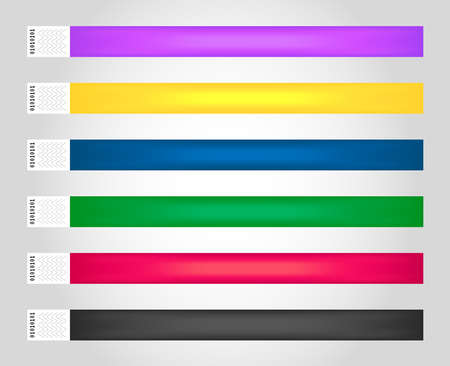 Vector set of cheap empty bracelets or wristbands in the most common colors. Sticky hand entrance event paper bracelets isolated. Template or mock up suitable for various uses of identification.