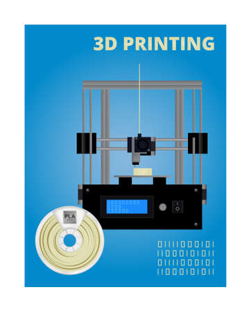 Vector concept of 3D printing. Icon of fused deposition modeling 3D printer, pla natural white filament for 3D printing wounded on the spool and Gcode. Design is on a blue background.