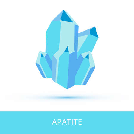 Vector mineralogy icon of phosphate mineral apatite from the mohs scale of mineral hardness. green-blue crystalline stone or gemstone crystal isolated on a white background.