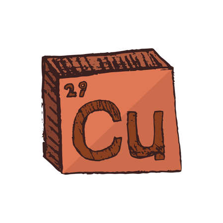 Vector three-dimensional hand drawn chemical reddish brown symbol of metal copper or cuprum with an abbreviation Cu from the periodic table of the elements isolated on a white background.