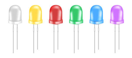 Vector set of realistic 3d light-emitting diodes. Eco white, yellow, red, green, blue, and violet small LED light bulbs isolated on a white background. Semiconductor diode – electrical component. Stock Illustratie