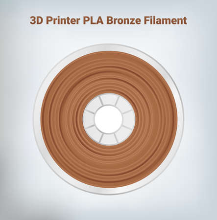 Vector illustration of special glittering composite pla or abs bronze copper filament for 3D printing wounded on the spool. Plastic gold special material for a 3D printer.