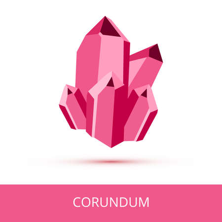 Vector mineralogy icon of aluminum oxide mineral corundum Al2O3 from the mohs scale of mineral hardness. Dark pink or red crystalline stone or gemstone crystal isolated on a white background.