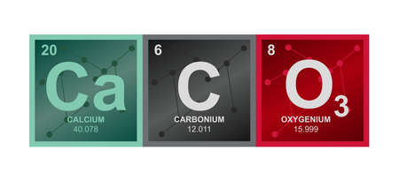 Vector symbol of calcium carbonate CaCO3 compound consisting of calcium, carbon and oxygen atoms and molecules on the background from connected molecules