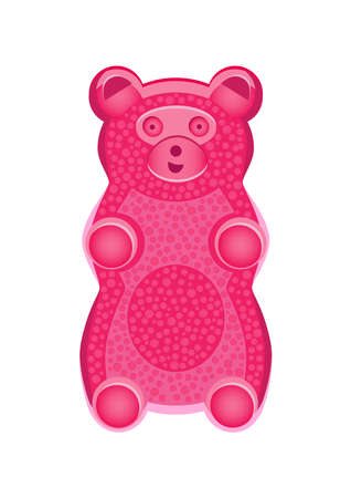 Vector detailed illustration of pink gummy bear or jelly bear. Children's fairytale candy. Childlike bear isolated on a white background. The illustration can also be used as a plush toy for children. Stock Illustratie
