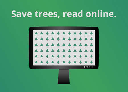 Green eco online ecology concept. Think before you print. Save trees, read online. Icon isolated on green. Please consider the environment before printing. Save paper, save trees, read on a monitor. Иллюстрация