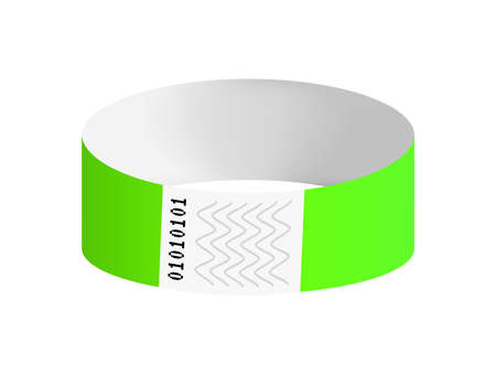 Vector illustration of luminous neon green cheap empty bracelet or wristband. Sticky hand entrance event paper bracelet isolated. Template or mock-up suitable for various uses of identification.