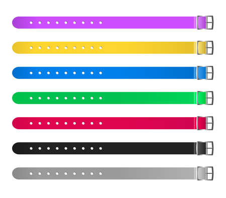 Vector set of silicon waterproof wristbands or bracelets with closing watch mechanism in most common colors. Hand entrance access control suitable for sport. Templates are isolated on a white background
