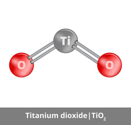 Vector ball-and-stick model of titanium dioxide or titania molecule TiO2 consisting of titanium and oxygen. Structural formula used as a pigment titanium white. Icon is isolated on a white background.