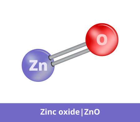 Vector ball-and-stick model of zinc oxide ZnO consisting of zinc and oxygen. The structural formula used as a pigment zinc white. The icon is isolated on a white background. Vektorgrafik