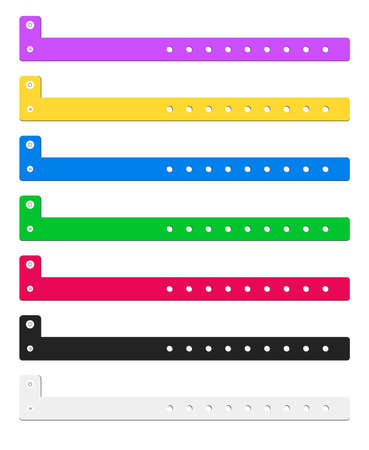 Vector set of cheap plastic empty bracelet or wristband in most common colors. Stock Illustratie