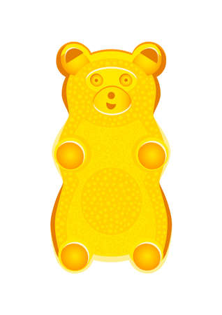 Vector detailed illustration of yellow gummy bear or jelly bear. Children's fairytale candy. Childlike bear isolated on a white background. Illustration can also be used as a plush toy for children. Stock Illustratie