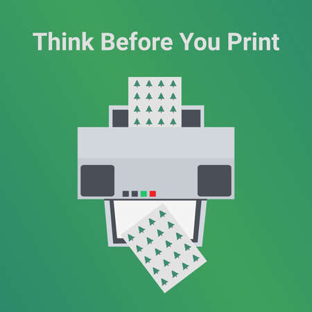 Green eco printing ecology concept. Think before you print. Home or business inkjet printer machine isolated on green. Please consider the environment before printing an email. Save paper, save trees.