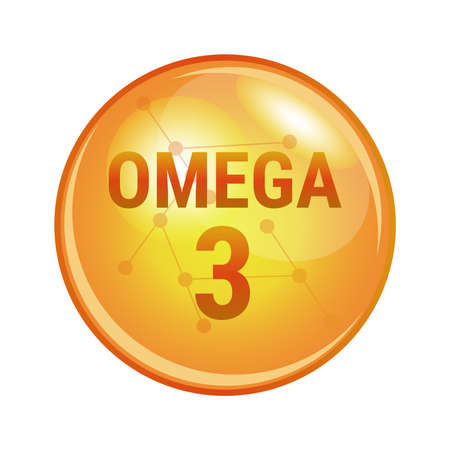 Vector illustration of omega-3 polyunsaturated fatty acid found in fish, oils, eggs, chia, and flax seeds. Vector medical icon of capsule for health. Gold shining pill isolated on a white background.