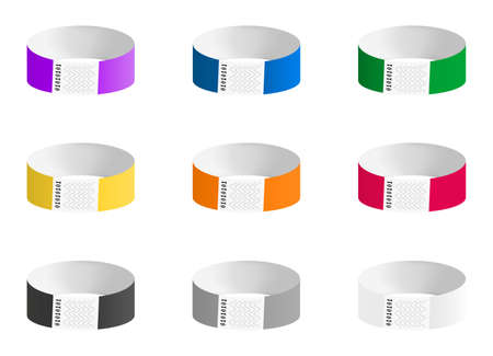 Vector set of cheap empty bracelets or wristbands in most common colors. Sticky hand entrance event paper bracelet isolated on white. Templates or mock-ups suitable for various uses of identification.