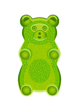 Vector detailed illustration of green gummy bear or jelly bear. Children's fairytale candy. Childlike bear isolated on a white background. Illustration can also be used as a plush toy for children. Stock Illustratie