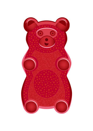 Vector detailed illustration of red gummy bear or jelly bear. Children's fairytale candy. Childlike bear is isolated on a white background. Illustration can also be used as a plush toy for children. Stock Illustratie