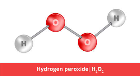 Vector ball-and-stick model of chemical substance. Icon of hydrogen peroxide molecule H2O2 consisting of hydrogen and oxygen. Structural formula suitable for education isolated on a white background.