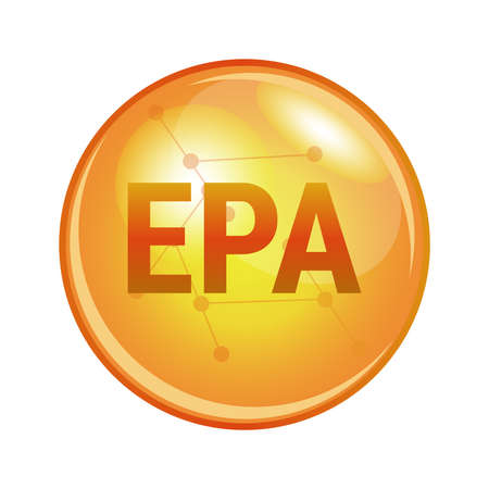 Illustration of eicosapentaenoic acid EPA found in omega-3 fatty acids. Vector medical or pharmaceutical icon of capsule for health and prevention. Gold shining pill isolated on a white background.