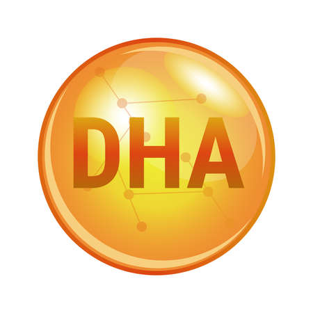 Vector illustration of docosahexaenoic acid DHA found in omega-3 fatty acids. Vector medical or pharmaceutical icon of capsule for health. Gold shining pill isolated on a white background.