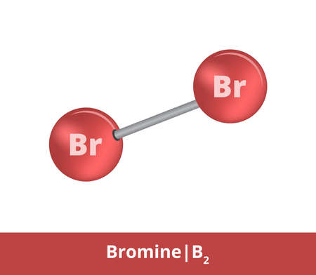 Vector ball-and-stick model of chemical substance. Dark red icon of bromine molecule Br2 with one single bond. Structural formula of bromine is suitable for education and isolated on a white backgroud