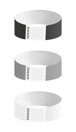 Vector set of black, gray and white cheap empty bracelets or wristbands. Sticky hand entrance event paper bracelet isolated on white. Templates or mock-ups suitable for various uses of identification.