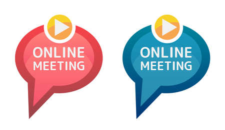 Online meeting icon. Vector red and blue icons of video chat isolated on white background. Online conversation, home office, conference, video communication. Speech bubble with a play icon.