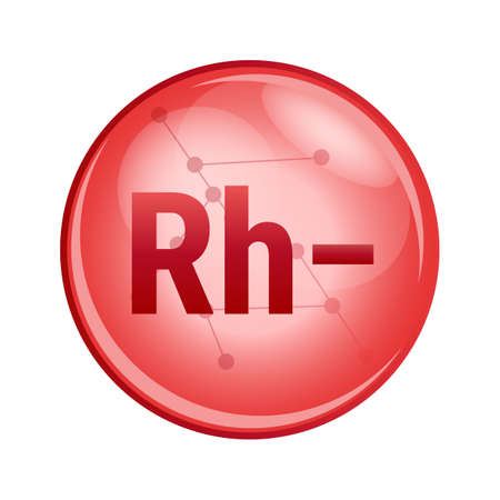 Vector red icon of Rh− from blood group system, which determines blood type. Rhesus or Rh factor. Rh-negative where the blood contains d antigens. Rh- icon is isolated on a white background.