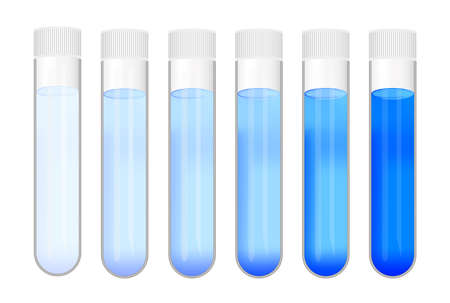 Vector set of laboratory test tubes with different concentrations of blue substance solution. Color gradient from light to dark. Laboratory glassware with calibration standard isolated on white.