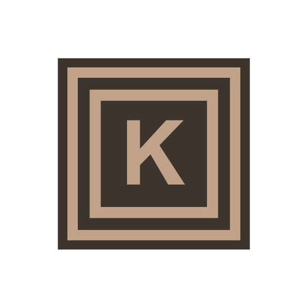 Vector symbol of letter Kappa from the Greek alphabet. The icon is isolated on a white background.