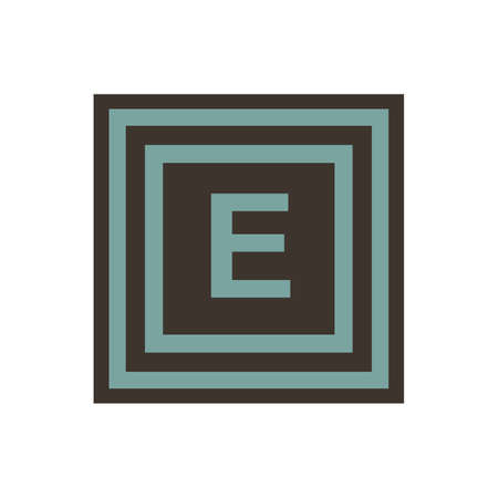 Vector symbol of letter Epsilon or E from the Greek alphabet. The icon is isolated on a white background.