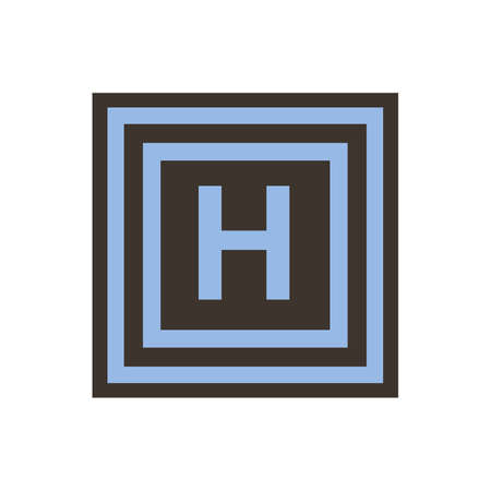 Vector symbol of letter Eta or H from the Greek alphabet. The icon is isolated on a white background.