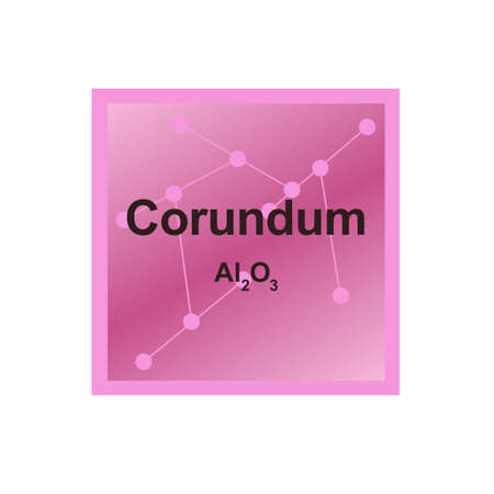 Vector symbol of Corundum mineral (Al2O3) from the Mohs scale of mineral hardness on the background from connected molecules. The symbol is isolated on a white background.