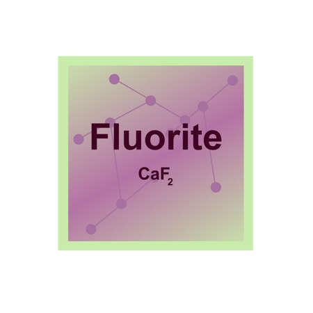 Vector symbol of Fluorite (CaF2) from the Mohs scale of mineral hardness on the background from connected molecules. The icon is isolated on a white background.