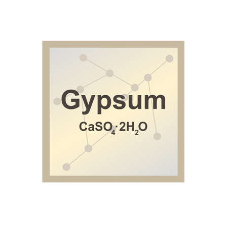 Vector symbol of Gypsum (Calcium sulfate dihydrate or CaSO4.2H2O) from the Mohs scale of mineral hardness on the background from connected molecules. The icon is isolated on a white background.
